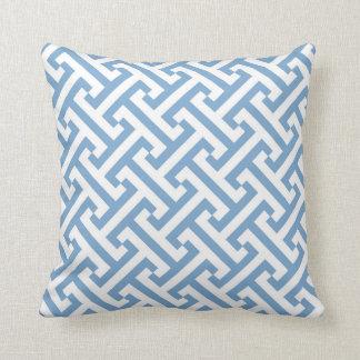 Greek Geometric Pattern Sky Blue and White Throw Pillow
