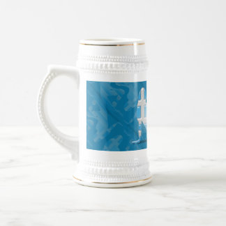 Greek Girl Silhouette Flag Beer Stein