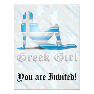 Greek Girl Silhouette Flag Card