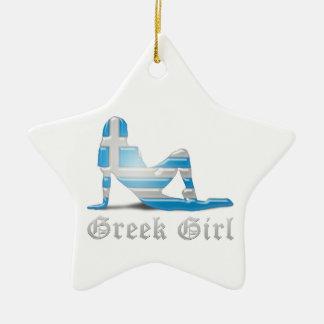 Greek Girl Silhouette Flag Ceramic Ornament
