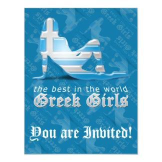 Greek Girl Silhouette Flag Invite