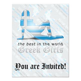 Greek Girl Silhouette Flag Personalized Invite