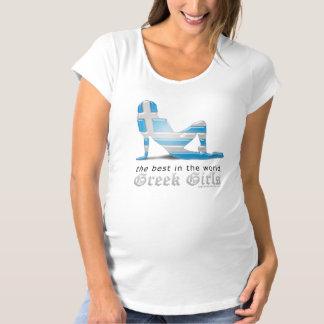 Greek Girl Silhouette Flag Maternity T-Shirt