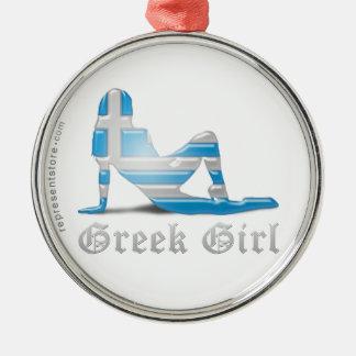 Greek Girl Silhouette Flag Metal Ornament