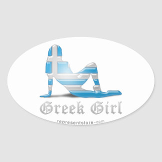 Greek Girl Silhouette Flag Oval Sticker