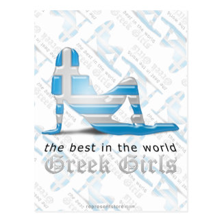 Greek Girl Silhouette Flag Postcard