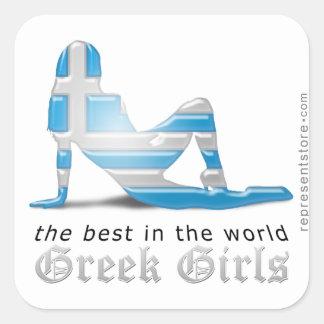 Greek Girl Silhouette Flag Square Sticker