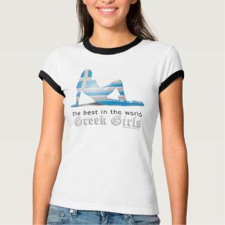 Greek Girl Silhouette Flag T-Shirt