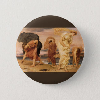 Greek Girls Picking Up Pebbles By Lord Leighton Pinback Button