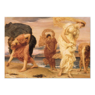 "Greek Girls Picking Up Pebbles By The Sea Leighton 5"" X 7"" Invitation Card"