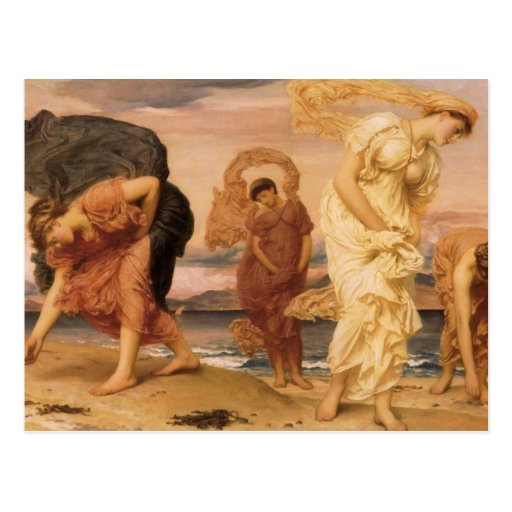 Greek Girls Picking Up Pebbles By The Sea Leighton Postcard