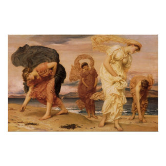 Greek Girls Picking Up Pebbles By The Sea Leighton Print