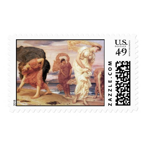 Greek Girls Picking up Pebbles - Frederic Leighton Postage Stamps