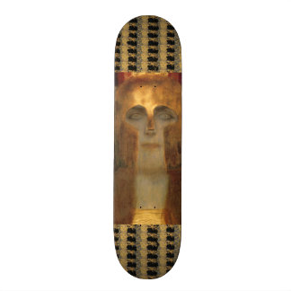Greek Goddess Athena in Gold Helmet by Klimt Skateboard