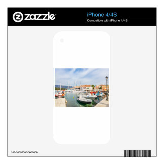 Greek harbor with sailing boats in Fiskardo Skins For The iPhone 4