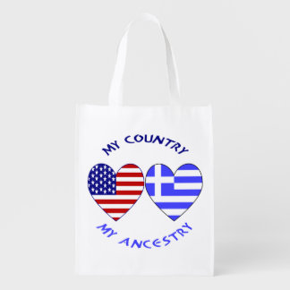 Greek Heart Flag Country Ancestry Grocery Bag