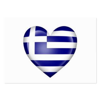 Greek Heart Flag on White Large Business Card