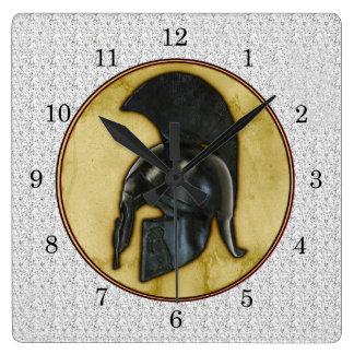 Greek Helmet Square Wall Clock