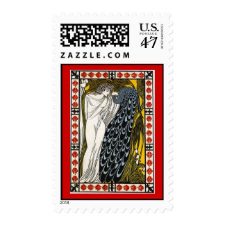 Greek in Toga & Peafowl Peacock Postage Stamp