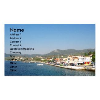 Greek island profile card business card template