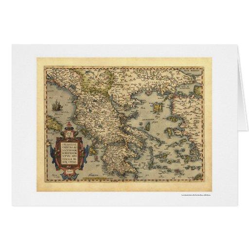 Greek Islands Map Ortelius 1570 Card
