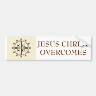 "Greek ""Jesus Christ Overcomes"" Bumper Sticker"