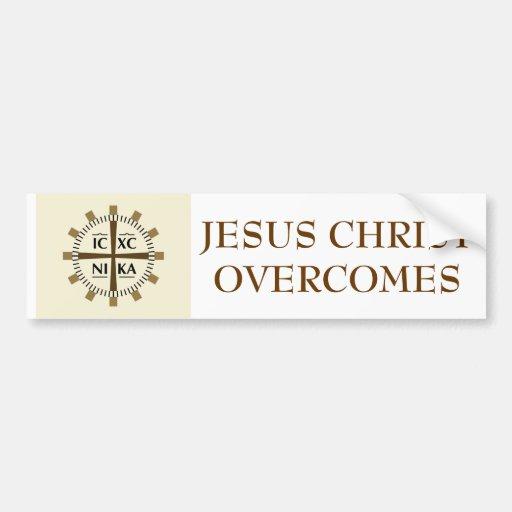 "Greek ""Jesus Christ Overcomes"" Bumper Stickers"