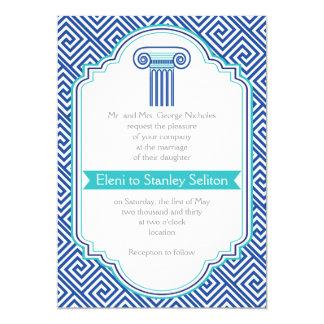 Greek key and aqua, blue column Grecian wedding Card