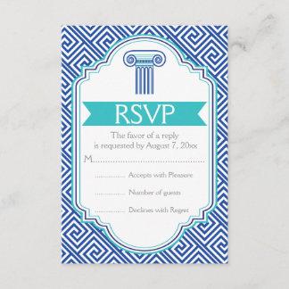 Greek key and aqua, blue column wedding RSVP