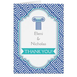 Greek key and aqua blue column wedding Thank You Stationery Note Card