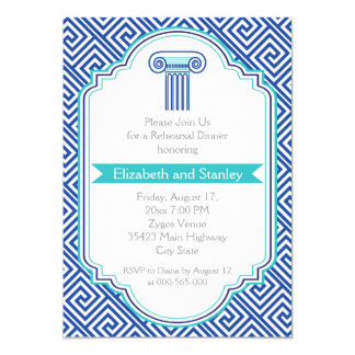 Greek key and blue column wedding rehearsal dinner card