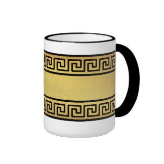 Greek Key and Gold Ringer Mug