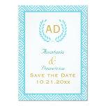 Greek key and laurel wreath teal request 3 4.5x6.25 paper invitation card