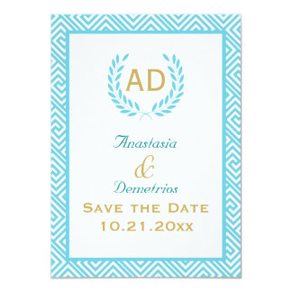 "Greek key and laurel wreath teal request 3 4.5"" x 6.25"" invitation card"