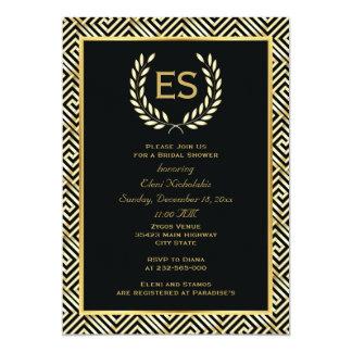 Greek key and laurel wreath wedding bridal shower 5x7 paper invitation card