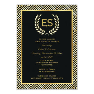 Greek key and laurel wreath wedding couples shower card
