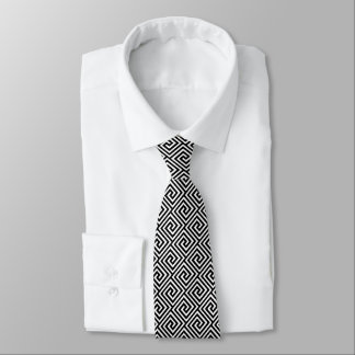 Greek Key, black and white Neck Tie
