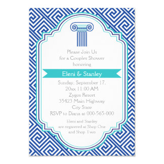 Greek key & blue column couples wedding shower card