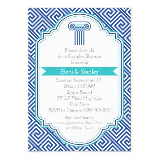 Greek key & blue column couples wedding shower 5x7 paper invitation card