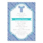 Greek key & blue column wedding bridal shower card
