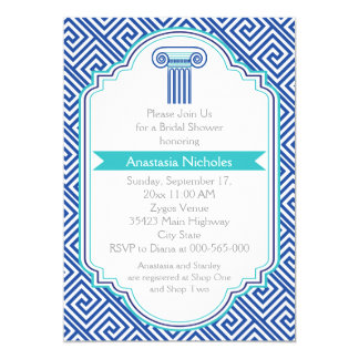 Greek key & blue column wedding bridal shower invitation