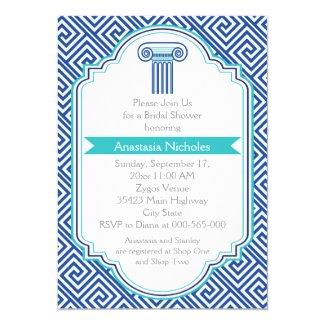 Greek key & blue column wedding bridal shower cards
