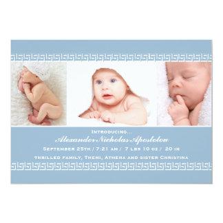 Greek Key Blue Photo Birth Announcement