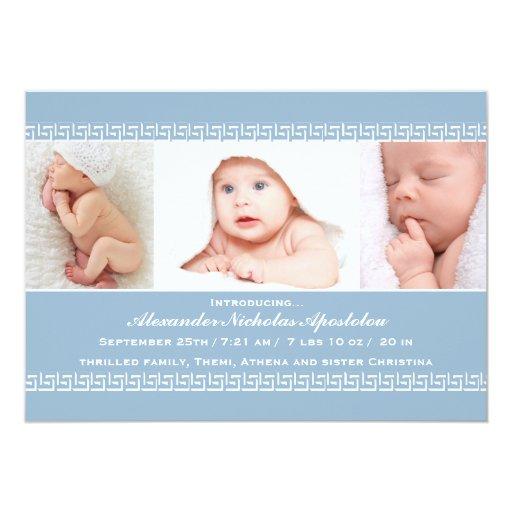 "Greek Key Blue Photo Birth Announcement 5"" X 7"" Invitation Card"