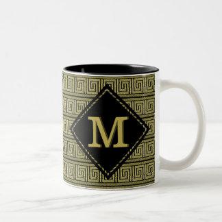 Greek Key Classic Design In Gold & Black Two-Tone Coffee Mug
