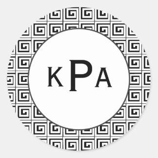 Greek Key Classic Round Sticker
