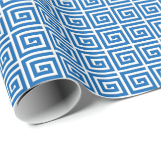 Greek Key design - blue and white enamel look Wrapping Paper