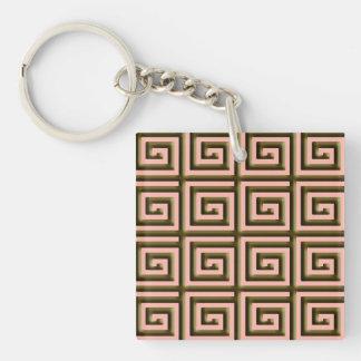 Greek Key design - chocolate brown on coral Keychain