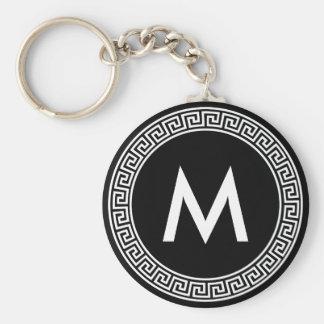 Greek Key Design Monogram Basic Round Button Keychain