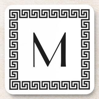 Greek Key Design Monogram Coaster
